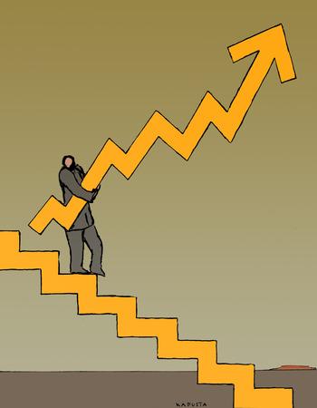 Businessman carrying upward graph arrow