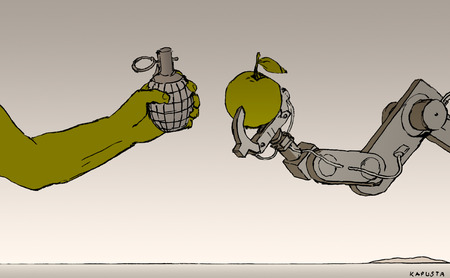 Human and robotic arms holding objects