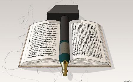 Champagne bottle hammer on historical manuscript