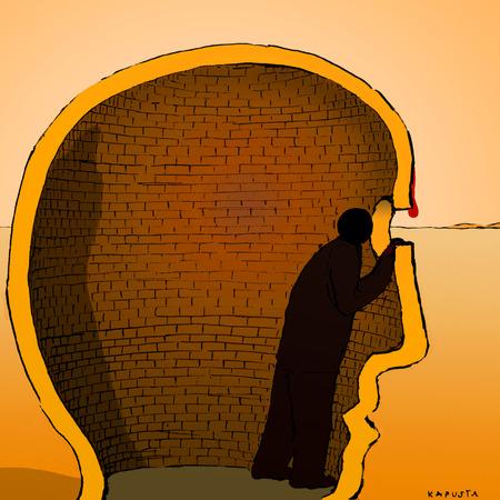 Person trapped in brick head