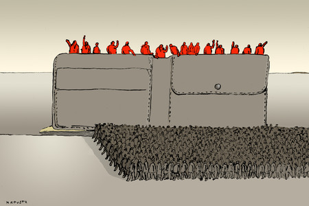 Red people standing in wallet
