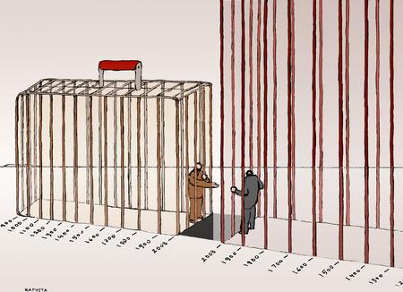 Businessmen in timeline prisons