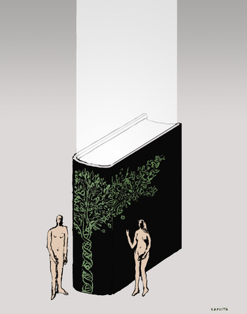Adam and Eve standing with biology book