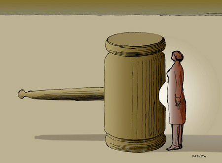 Woman standing with gavel