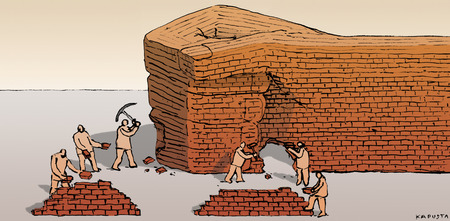 Workers taking bricks from hand wall