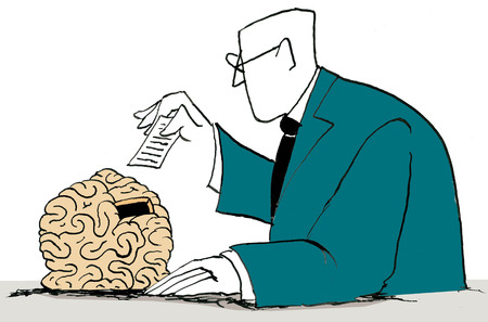 Businessman inserting note into brain