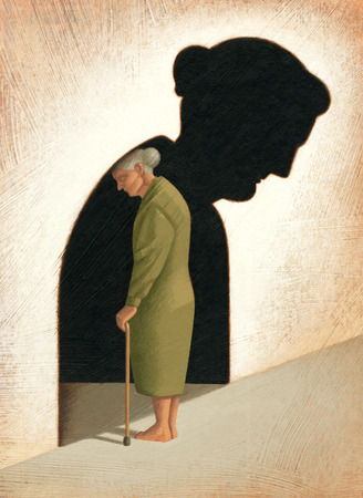 Senior woman standing in sad shadow