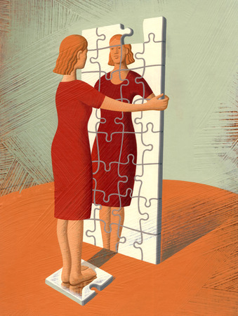 Woman looking in puzzle mirror