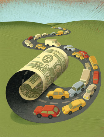 Cars driving on money highway
