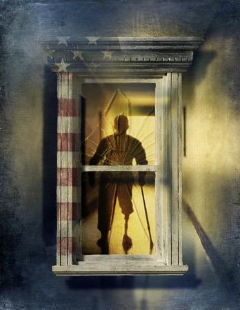 War veteran standing in window