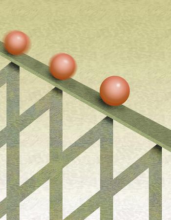 Three balls rolling down graph