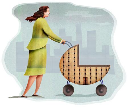 Businesswoman pushing building stroller