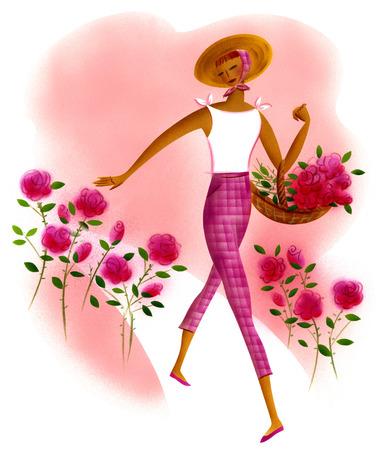 Woman picking pink roses