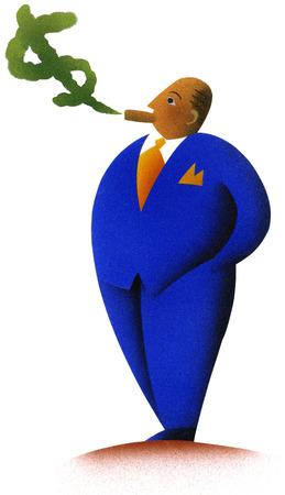 Fat businessman smoking money cigar