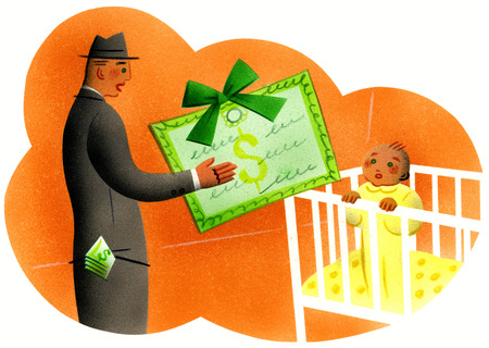 Father giving baby money certificate