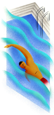 Man swimming in swimming pool