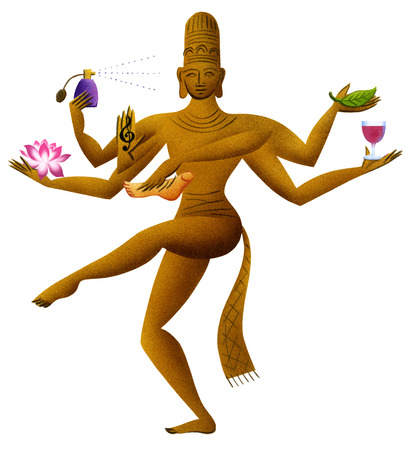God with many arms balancing objects