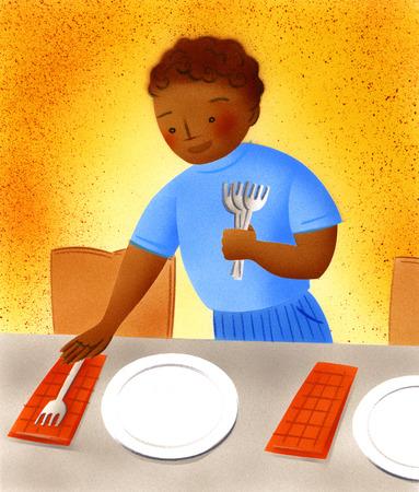 Boy setting table for dinner & Stock Illustration - Boy setting table for dinner