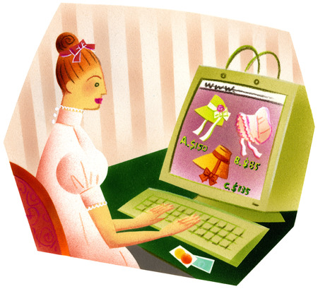 Woman shopping for bonnets online