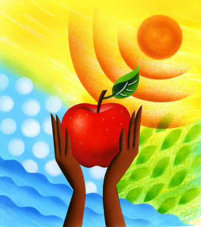 Woman holding up apple to sun