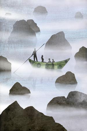 Money boat navigating through rocky water