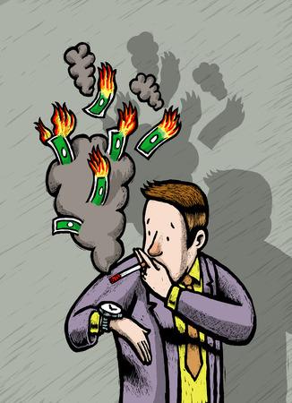 Man smoking away money