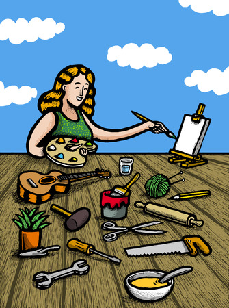 Woman painting objects