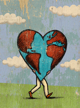 Man carrying heart globe