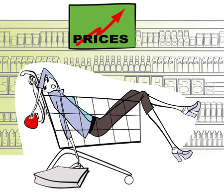 Exhausted woman in shopping cart