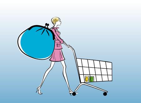 Woman with big purse pushing shopping cart