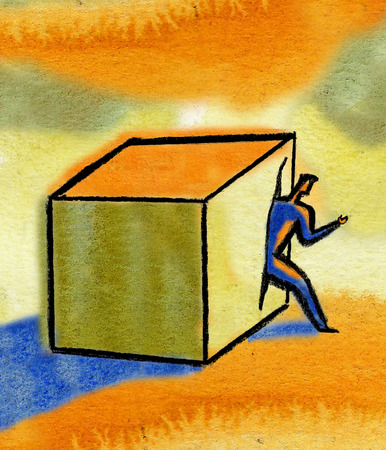 Man emerging from box