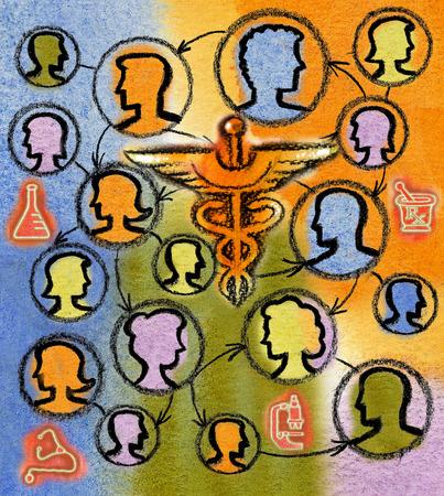 Profiles and healthcare symbols