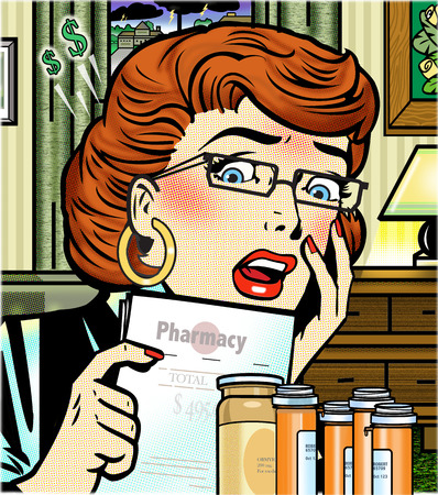 Shocked woman looking at prescription costs