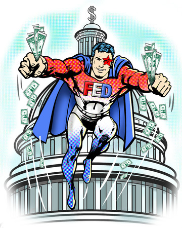 Federal superhero flying with money