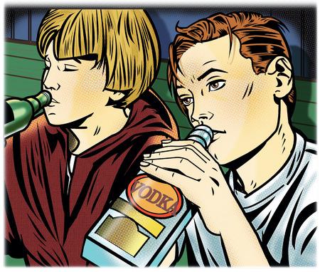 Teenage boys drinking alcohol