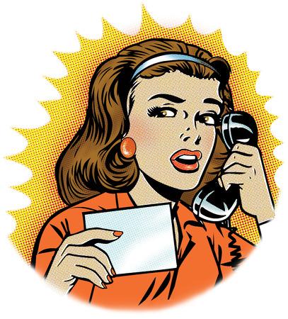 Worried woman talking on telephone