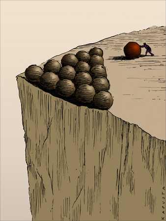 Figure pushing balls off cliff