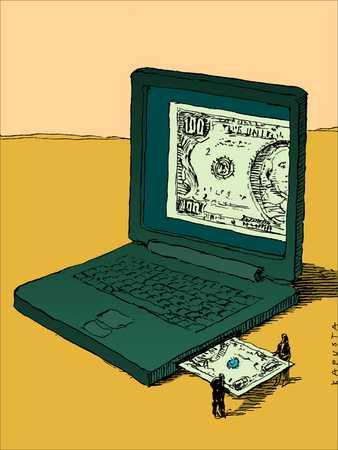 Laptop accepting money