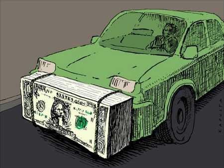Car with money bumper