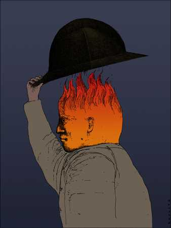 Head with flames