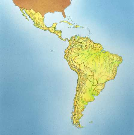 Map of Mexico And South America