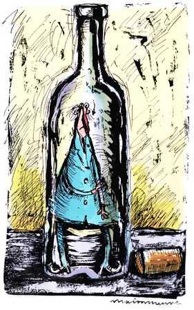 Man Inside Glass Bottle