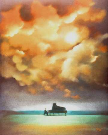 A Musician Playing The Piano On A Winter Day