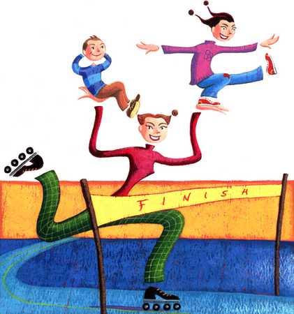 Kids racing on skates