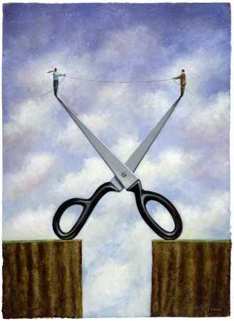 Figures standing on scissors