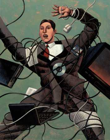Businessman wrapped in wires