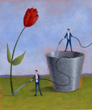 Businessman watering rose