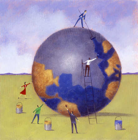 Figures painting globe