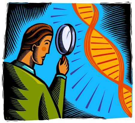 Man looking at DNA