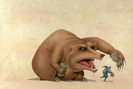 Giant Bear Guarding Money